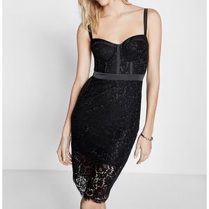 New Express Pipe Lace Sheath Dress Black Size 2